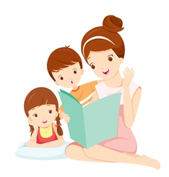 Mother reading tale book to daughter and son vector