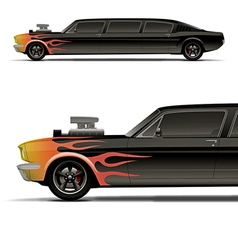 muscle car limo with flames vector image