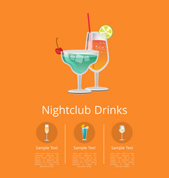 Nightclub alcohol drinks advertising poster icons vector