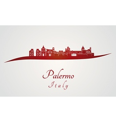 Palermo skyline in red vector