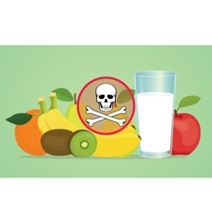 poison poisonous fruit with skull symbol vector image