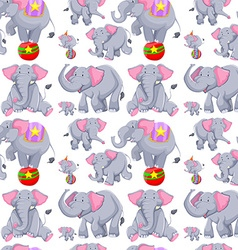 Seamless background with gray elephants vector
