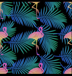 Seamless flamingos and palm leaf pattern backgroun vector