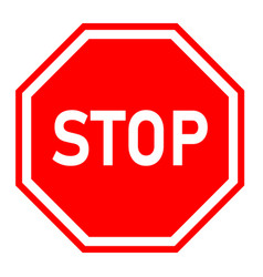 stop sign on white background red stop symbol vector image vector image