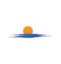 sun over horizon vector image