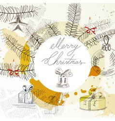 template for stylized christmas card vector image vector image