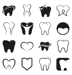 Tooth teeth icons set vector