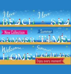 Travel cards artistic font summer beach vector