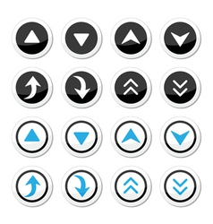 Up and down arrows round icons set vector image vector image