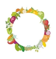 Vegetables round frame with space for text flat vector