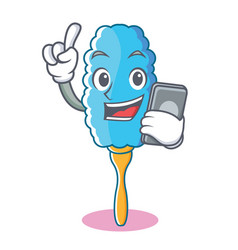 With phone feather duster character cartoon vector