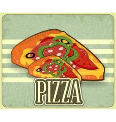 pizza retro label vector image