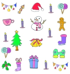 Collection christmas element of doodle vector