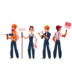 Team of construction workers builders painters vector