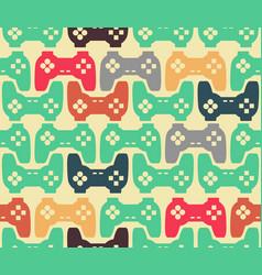 joystick seamless pattern retro gamepad texture vector image