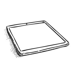 Cartoon image of tablet computer with blank screen vector