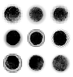 Abstract halftone round dotted shapes design vector