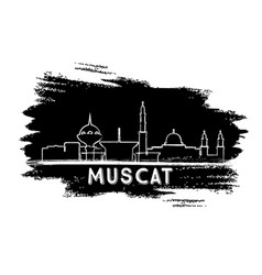 Muscat oman skyline silhouette hand drawn sketch vector