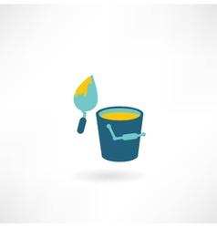 bucket construction trowel icon vector image