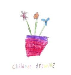 Childs drawing of a flowers vector