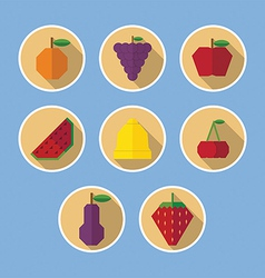 Set of fruit flat icons with long shadows vector