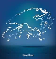Doodle map of hong kong vector