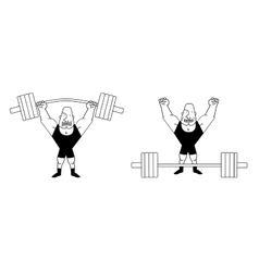 Sportsman lifting heavy barbell contour vector