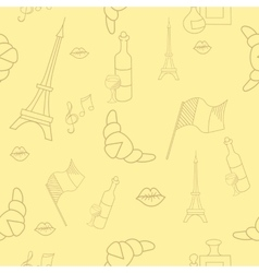 French symbols seamless pattern yellow color vector