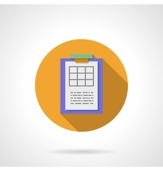 Clipboard with spreadsheet round flat icon vector