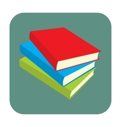 Horizontal stack of colored books flat icon vector