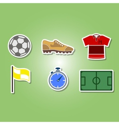 Color set with soccer icons vector