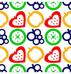 Pattern with closeup fruits berries strawberries vector