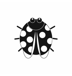 Cute ladybug icon black simple style vector