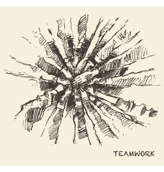 Drawn people teamwork collaboration concept vector