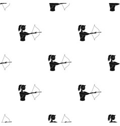 a girl stands in profile and holds the bow vector image