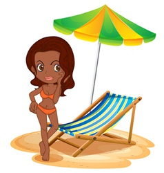 A tan lady at the beach vector image