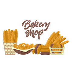 bakery shop set with different kinds of bread vector image vector image