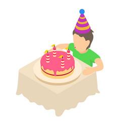 birthday celebration icon isometric 3d style vector image
