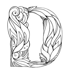 Black and white freehand drawing capital letter d vector