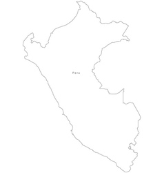 Black White Peru Outline Map vector image vector image