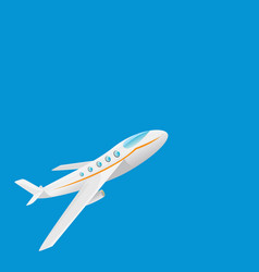 cartoon airplane flying in blue sky vector image