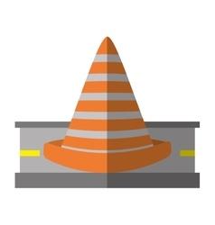 Cartoon road cone caution sign vector