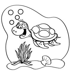 Cartoon sea turtle swimming underwater vector