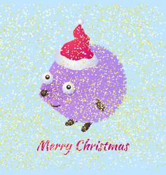 christmas hedgehog vector image vector image