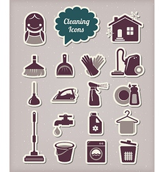 Cleaning icons paper cut style vector image vector image