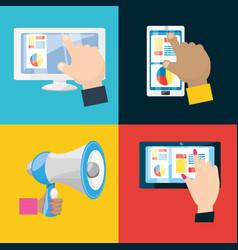 Colorful set icon digital marketing vector
