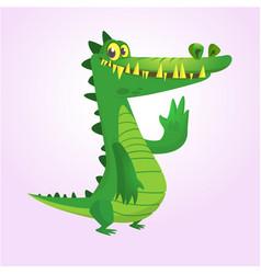 cute cartoon crocodile or dinosaur vector image