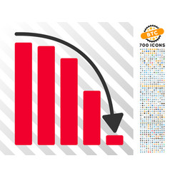 Falling acceleration chart flat icon with bonus vector
