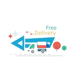 Fast Free Delivery Concept Icon Flat Design vector image