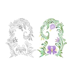 Hand drawn floral violet ornament vector image vector image